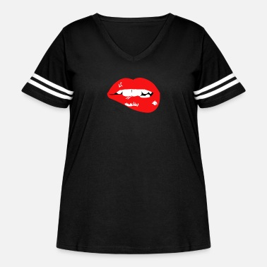 Lip Juicy Lips Biting Lip - Women's Curvy Vintage Sport T-Shirt