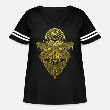 Esotericism Gold esotericism dragonfly with flower of life - Women's Curvy Vintage Sport T-Shirt