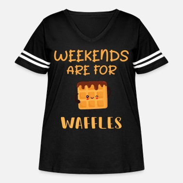 Weekends Are For Waffles print - Brunch Saturday - Women's Curvy Vintage Sport T-Shirt