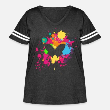 Painting Butterfly with splashes of paint - Women's Curvy Vintage Sport T-Shirt