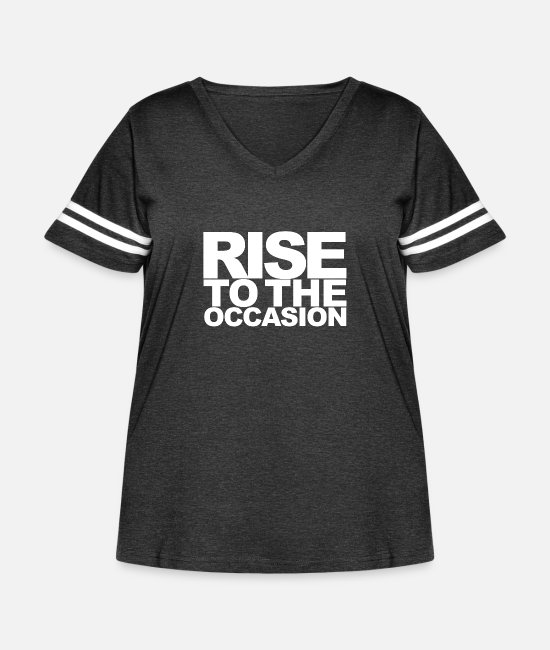 Occasion T-Shirts - Rise to the Occasion White - Women's Curvy Vintage Sport T-Shirt vintage smoke/white