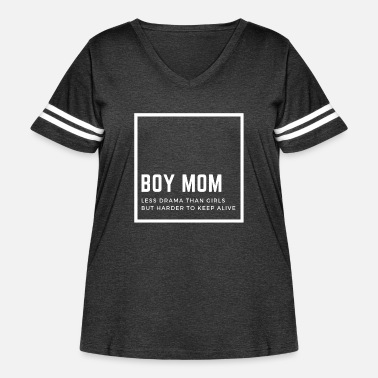 Alive Boys mom - less drama than girls - Women's Curvy Vintage Sport T-Shirt