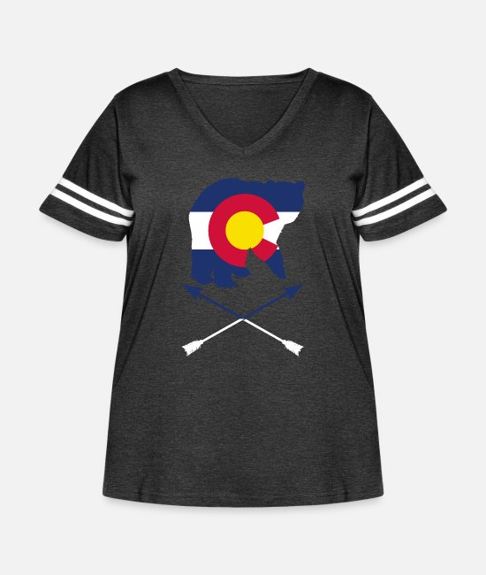 Maine T-Shirts - Colorado State Flag Bear Colorado Day Mountains - Women's Curvy Vintage Sport T-Shirt vintage smoke/white