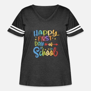 Kindergarten Happy First Day Of School Paint Colorful Kids Draw - Women's Curvy Vintage Sport T-Shirt