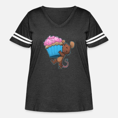 Cupcake mouse food cupcake cute kids birthday - Women's Curvy Vintage Sport T-Shirt