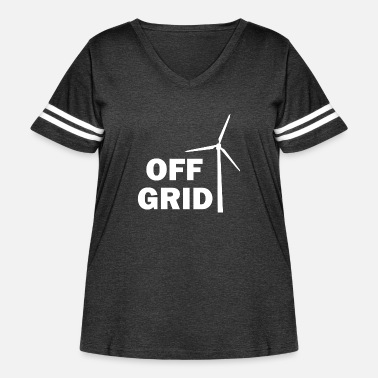 Grid Off Grid in White - Women's Curvy Vintage Sport T-Shirt