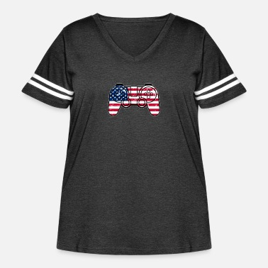 Monitoring Independence Day American Flag Gamepad Controller - Women's Curvy Vintage Sport T-Shirt