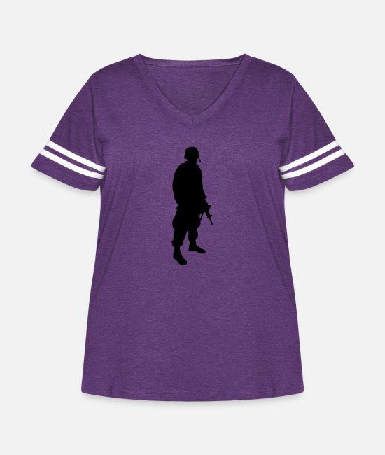 Jaws T-Shirts - Army Soldier - Women's Curvy Vintage Sport T-Shirt vintage purple/white