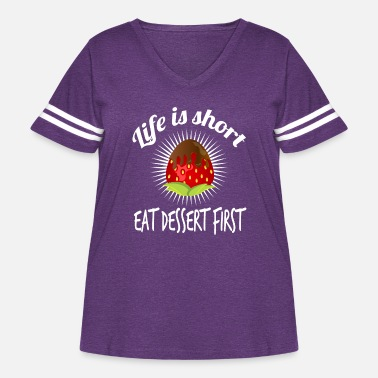 Fan of dessert and strawberries? Grab this cute - Women's Curvy Vintage Sport T-Shirt
