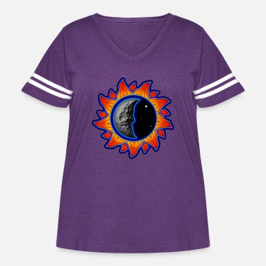 Abstract Sun abstract sun and moon - Women's Curvy Vintage Sport T-Shirt