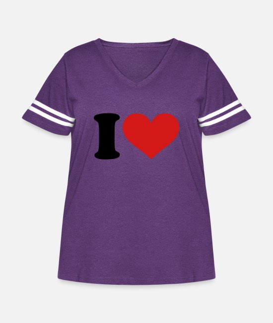 I Love T-Shirts - I love - Women's Curvy Vintage Sport T-Shirt vintage purple/white