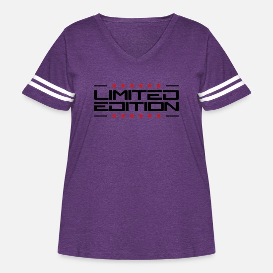 Limited Edition T-Shirts - Limited Edition Star Design - Women's Curvy Vintage Sport T-Shirt vintage purple/white