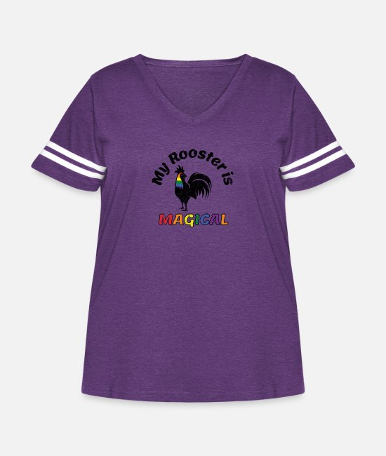 Gay Pride T-Shirts - Gay Pride Parade Magical Rooster Funny LGBTQ - Women's Curvy Vintage Sport T-Shirt vintage purple/white
