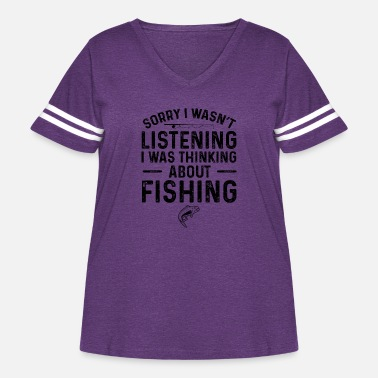 America Sorry I Wasn't Listening I Was Thinking About Fish - Women's Curvy Vintage Sport T-Shirt