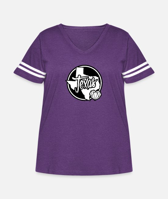 Texas T-Shirts - texas - Women's Curvy Vintage Sport T-Shirt vintage purple/white