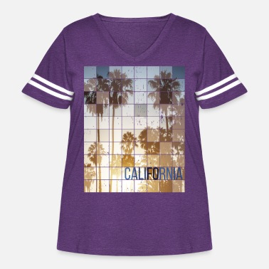 Hollywood Californa Sunset Cube Vintage - Women's Curvy Vintage Sport T-Shirt