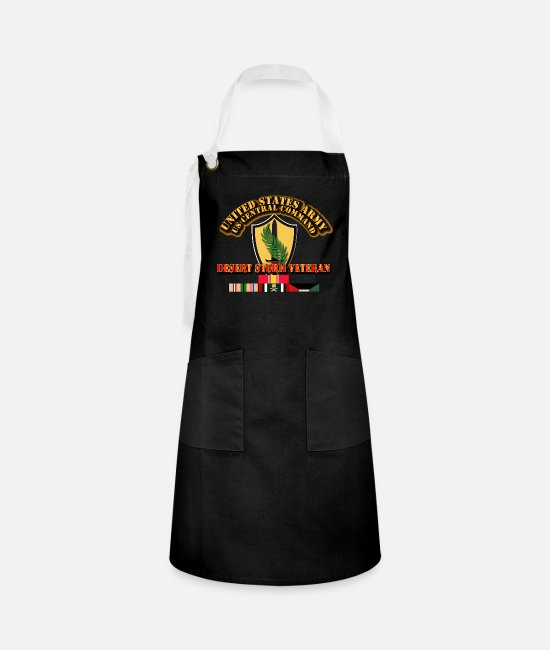 Storm Aprons - Army - US CENTRAL COMMAND - Desert Storm Veteran - Artisan Apron black/white