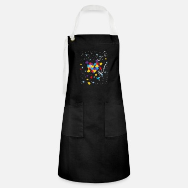 Autism Awareness Puzzle Ribbon Heart Autistic Art - Artisan Apron