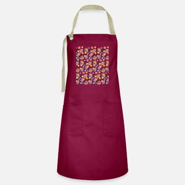Heart Bre Cute Dogs Patterns with different breed and elemen - Artisan Apron