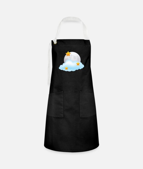 Space Aprons - Moon - Stars - Night - Space - Nighttime - Artisan Apron black/white