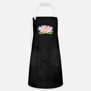 Unusual Water lily in the pond from pink flower ribbons - Artisan Apron