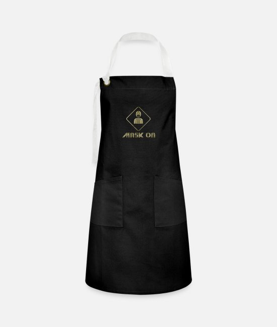Stayhome Aprons - Mask on - Artisan Apron black/white