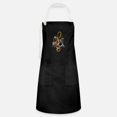 Talent Drummer Treble Clef Drums Music Band Drum Player - Artisan Apron