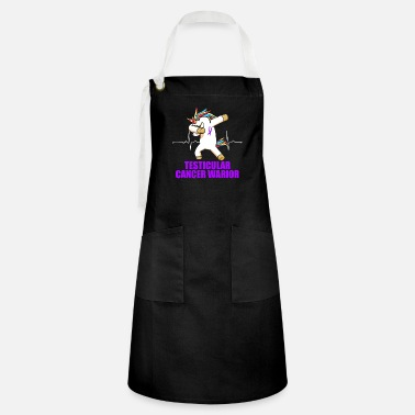 Cancer Warrior Testicular Cancer Survivor Unicorn Purple Ribbon - Artisan Apron