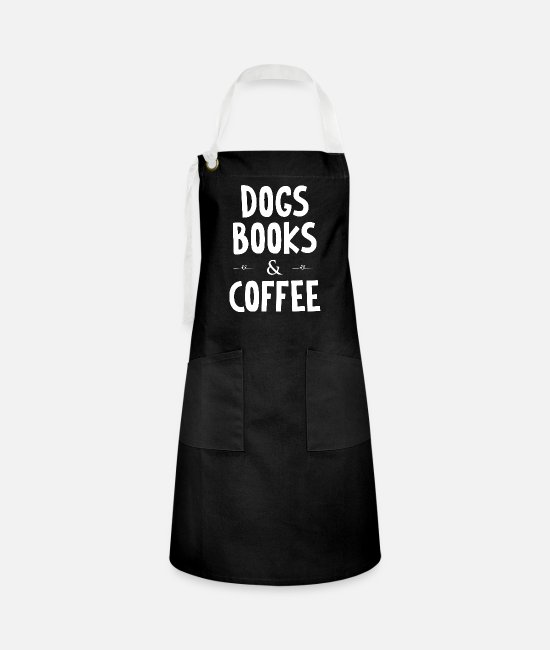 Wine Aprons - dogs books and coffee - Artisan Apron black/white
