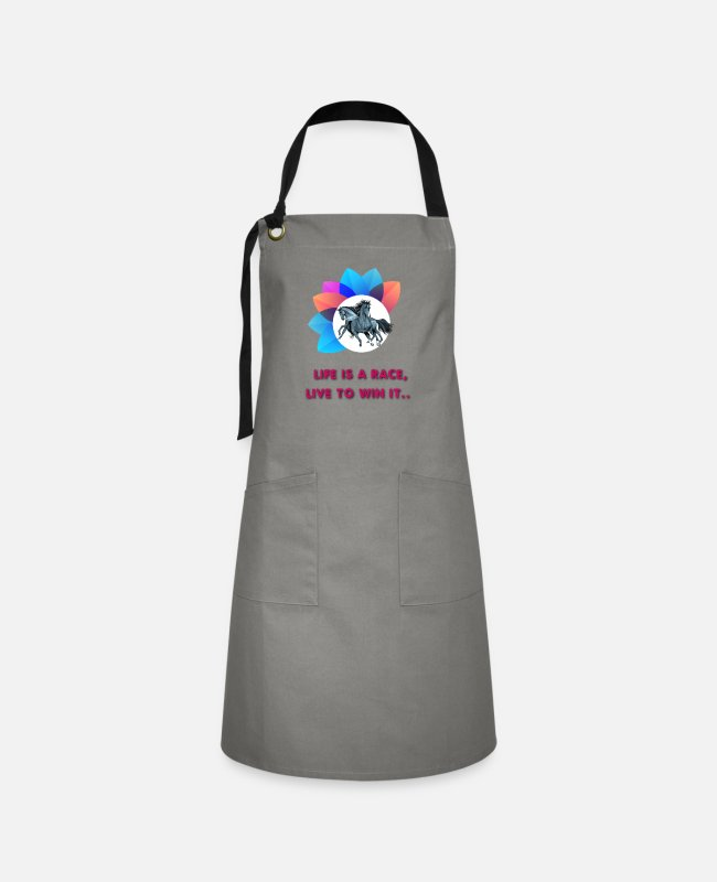 Competition Aprons - Life is Race Live to win It - Artisan Apron gray/black