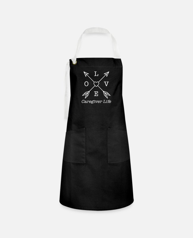 Heart Aprons - Caregiver, Care giver aid design - Artisan Apron black/white