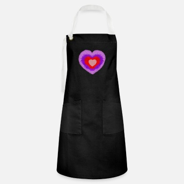 fluffy multi-colored heart - Artisan Apron