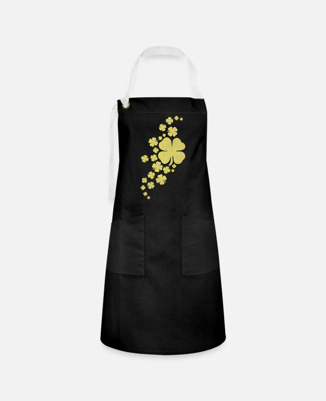 Charms Aprons - golden clovers lucky symbol st patrick's day - Artisan Apron black/white