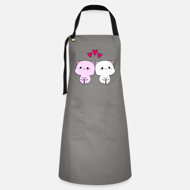 Little Cute funny Kawaii sweet baby kittens in love - Artisan Apron
