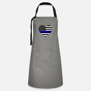 Line Thin blue line Heart Police Support - Artisan Apron