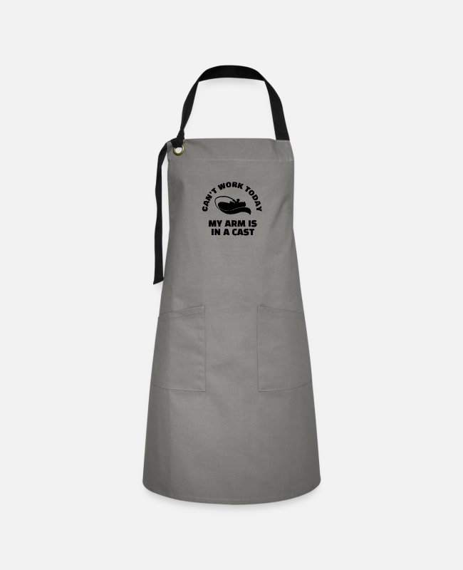 In A Cast Aprons - Fishing - My Arm Is In A Cast - Artisan Apron gray/black