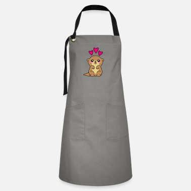 Cute funny happy kawaii baby otter, pink hearts - Artisan Apron