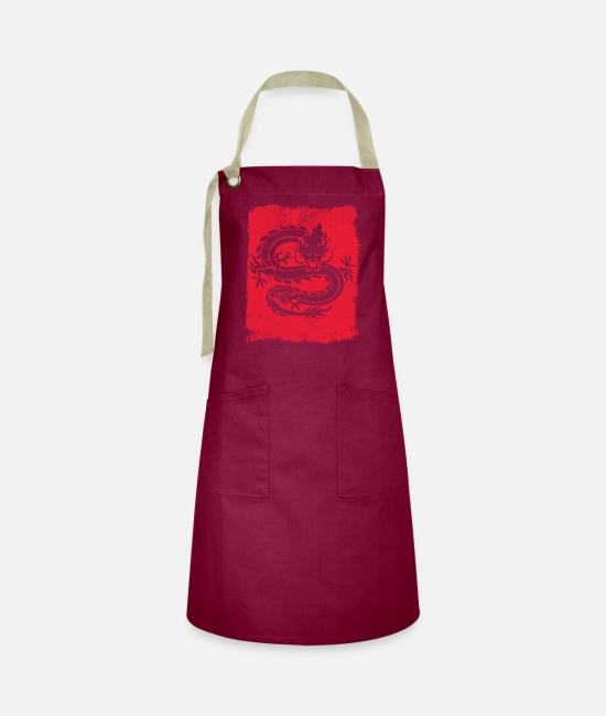 Dragon Head Aprons - Dragon China - Artisan Apron burgundy/khaki