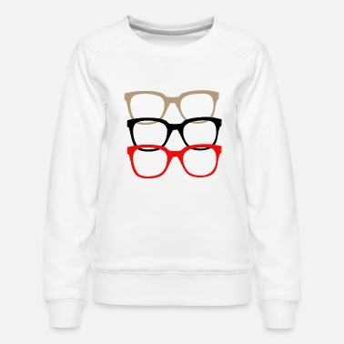 Nerdy Glasses Multi color - Women's Premium Sweatshirt