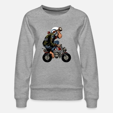 Monkey Bike Cartoon - Women's Premium Sweatshirt