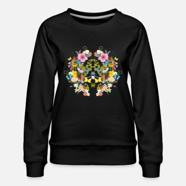 Flowers symmetrical flowers, birds and butterflies - Women's Premium Sweatshirt