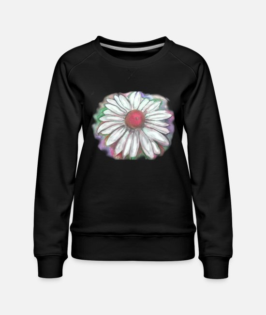 Art Hoodies & Sweatshirts - Daisy Watercolor - Women's Premium Sweatshirt black