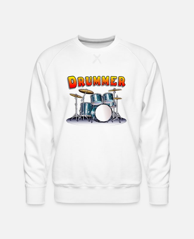 Snare Drum Hoodies & Sweatshirts - Drummer Drum Set - Men's Premium Sweatshirt white