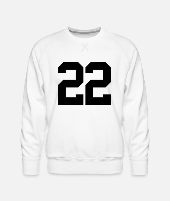 22 Hoodies & Sweatshirts - Sports Number 22 - Men's Premium Sweatshirt white