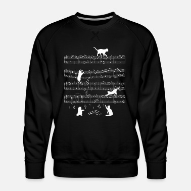 Idea Cute Musician Instrumentalist Cat Notes Music - Men's Premium Sweatshirt