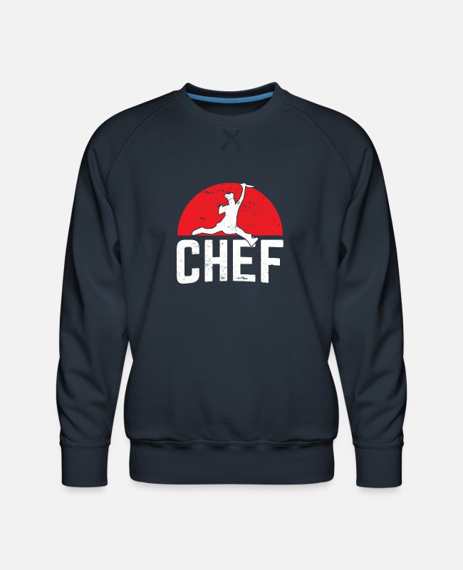 Restaurant Hoodies & Sweatshirts - Restaurant Chef Jumping Chef Knife Logo - Men's Premium Sweatshirt navy