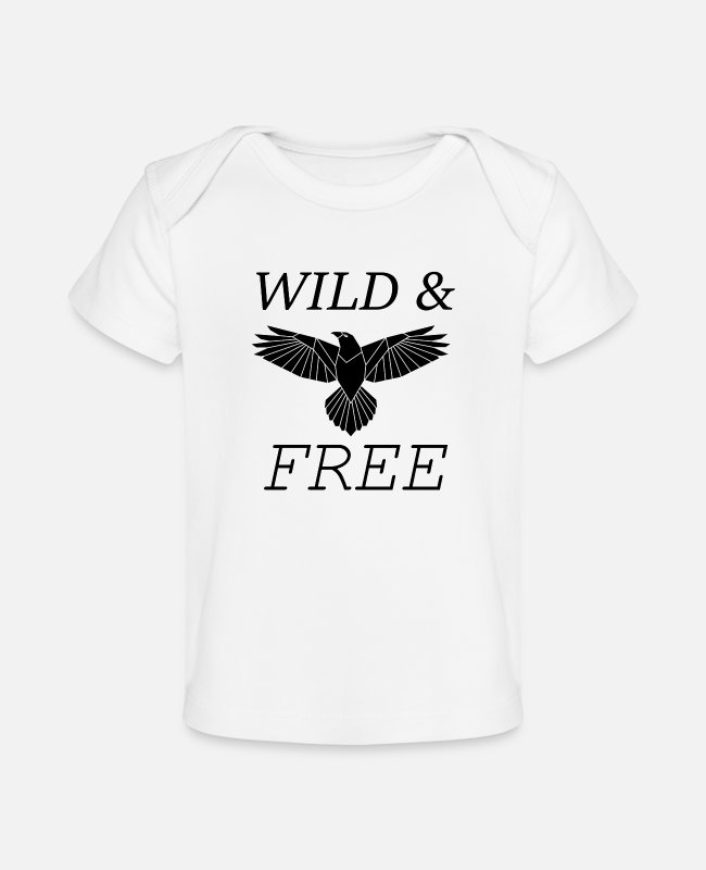 Wild Cat Baby T-Shirts - Wild and Free - Baby Organic T-Shirt white