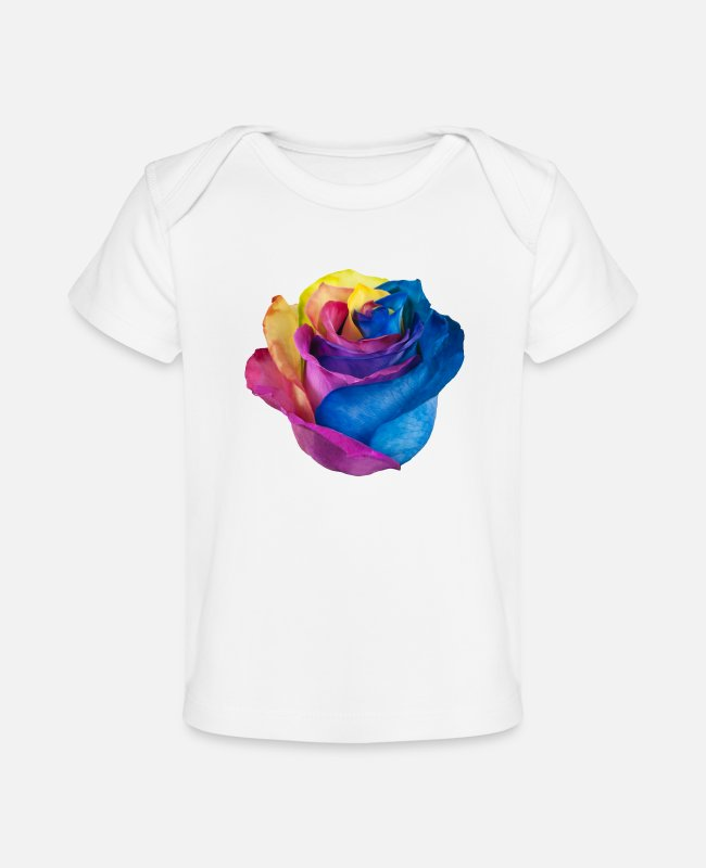 AWSOME Baby T-Shirts - RAINBOW ROSE - Baby Organic T-Shirt white