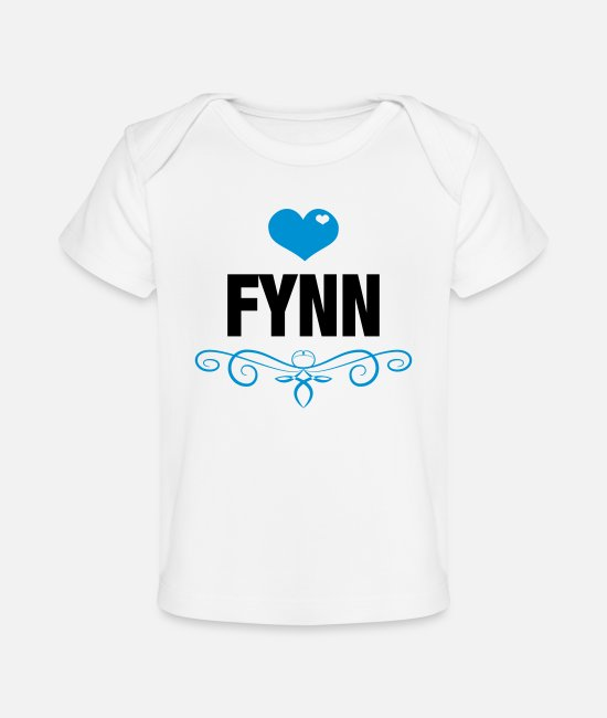 Heart Baby T-Shirts - Fynn, Love, Hearts, Baby, Boys, Birthday, Gifts - Baby Organic T-Shirt white