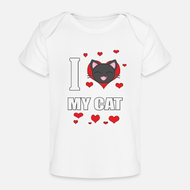 Cats I Love My Cat With a Cartoon Cat - Baby Organic T-Shirt